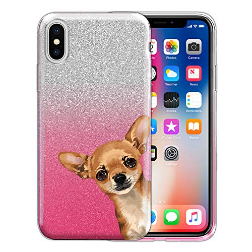 - FINCIBO Case Compatible with Apple iPhone X XS 5.8 inch, Shiny Sparkling Silver Pink Gradient 2 Tone Glitter TPU Protector Cover Case for iPhone X XS - Fawn Apple Head Chihuahua Look for You