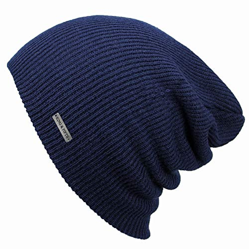 - Summer Beanie by King & Fifth | Slouchy Beanie for Men & Women + Breathable Cotton Beanie and Perfect for Warm Weather + Lightweight Beanie Navy Blue