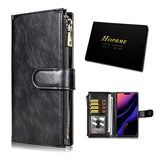 iPhone 11 Wallet Case 2020 Leather Zipper Luxury Detachable Shockproof Magnetic Kickstand Credit Card Cash Slots Phone Flip Protective Cover