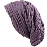 THE HAT DEPOT 200h2800 Premium Quality Baggy Wrinkled Slouchy Fleece Lining Beanie (Purple)