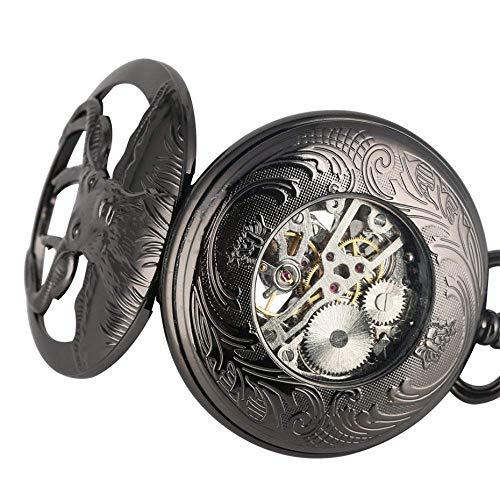 YGB fickur, retro svart gethuvud design halv mekanisk hand slingrande fickur, blå romerska siffror hänge klocka