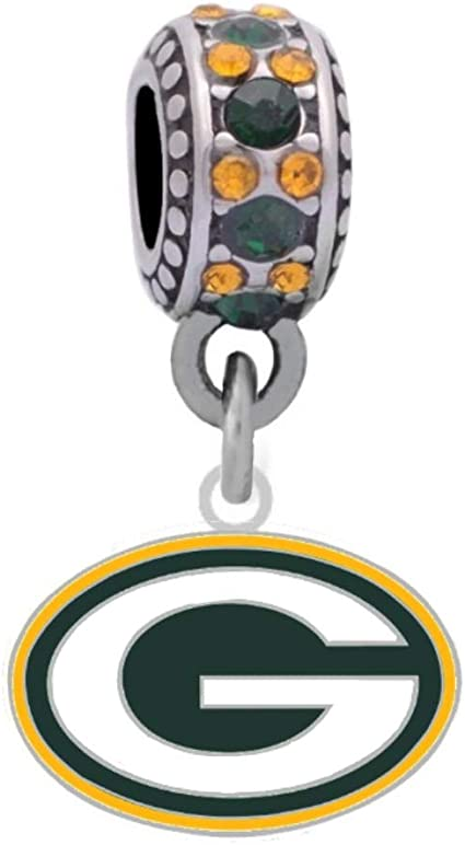 Amazon Com Green Bay Logo Charm Compatible With Pandora Style Bracelets Can Also Be Worn As A Necklace Included Sports Outdoors