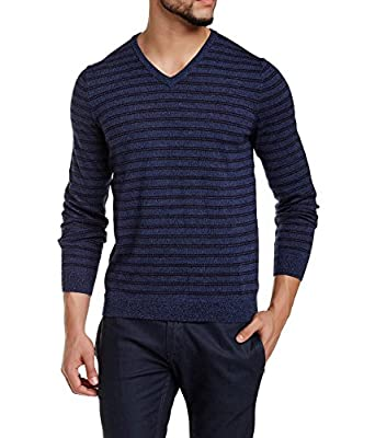 Calvin Klein Men's Merino Blend Striped V-Neck Sweater