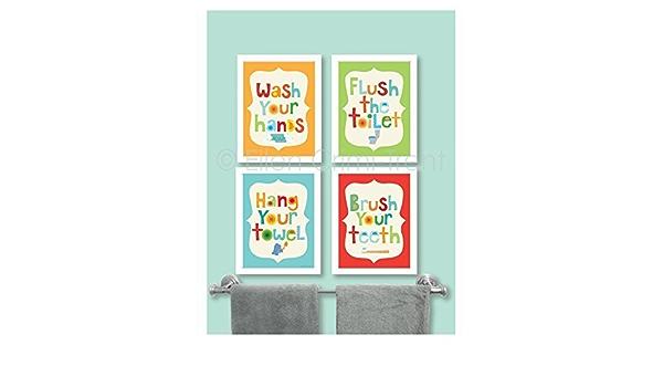 Modern Kids Bathroom Print Bathroom Art Set Bathroom Quotes Kids Bathroom Sets