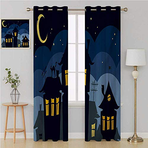 Halloween grummet Curtain Waterproof Window Curtain,Old Town with Cat on The Roof Night Sky Moon and Stars Houses Cartoon Art Window Curtains 108 by 108 Inch Black Yellow Blue -