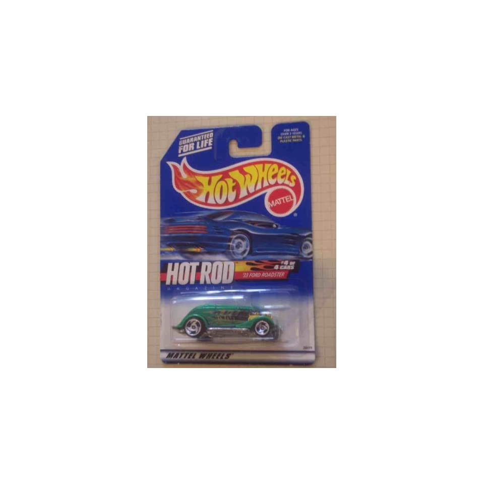 Hot Rod Magazine Series #4 1933 Ford Roadster Razor Wheels #2000 8 Collectible Collector Car Mattel Hot Wheels 164 Scale