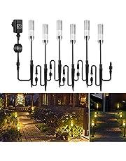 Trädgårdsbelysning ECOWHO 6 trädgårdslampa med markspik IP65 vattentät trädgårdsstrålkastare, LED-vägbelysning med kabel, trädgårdslampa med el, luftbubbla varmvit stigljus för gräsmatta utomhus