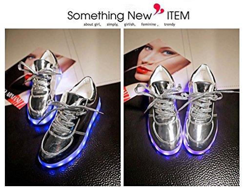 Modelos de pareja, Tefamore Zapatos de LED USB de carga de iluminación hasta zapatos de resplandor Zapatillas de moda intermitente Luminous plata