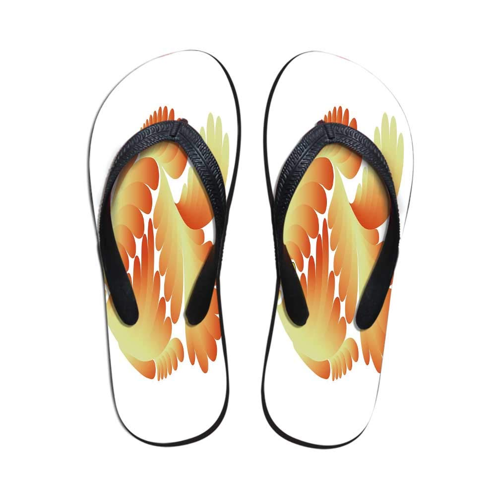 Aquarium Comfortable Flip Flops,Fantasy Design Figure with Stylized Scales Artistic Abstract Goldfish Decorative for Pool Garden,US Size 10