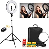 CRAPHY 18'' LED Ring Light 48W Bi-color Dimmable 3200k-5600k Kit with 2Battery, Bluetooth remote control, Light Stand, Hot Shoe, Cosmetic Mirror for Camera Smartphone Selfie Youtube Video Shooting …