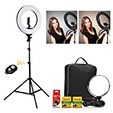 CRAPHY 18'' LED Ring Light 48W Bi-color Dimmable 3200k-5600k Kit with 2Battery, Bluetooth