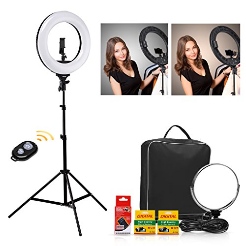 CRAPHY 18'' LED Ring Light 48W Bi-Color Dimmable 3200k-5600k Kit with 2Battery, Bluetooth Remote Control, Light Stand, Hot Shoe, Cosmetic Mirror for Camera Smartphone Selfie YouTube Video Shooting -