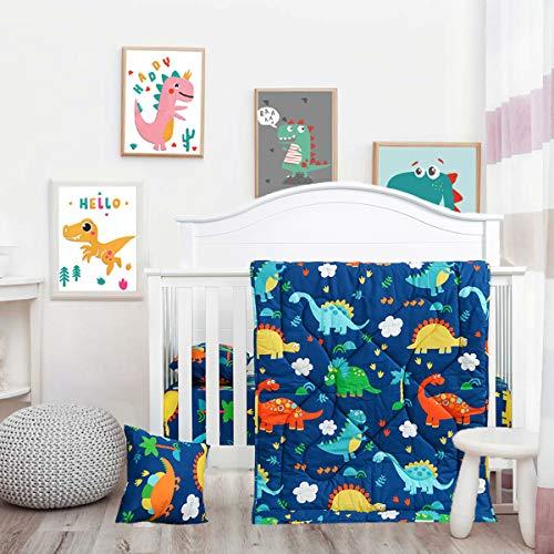 Cloele Toddler Bedding Set-100% Cotton Standard Size 3 Piece Crib Bedding Set,Soft Toddler Bedding-Includes Toddler Pillowcase,Crib Sheet,Baby Blanket-Dinosaur Design for Boys and Girls