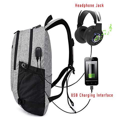 buy popular 14dbc 0e84d Antil Theft Waterproof Bag USB Charging Headphone Port 15.6 inch Laptop  Backpack College School Bookbag Business Travel Backpack (Grey)