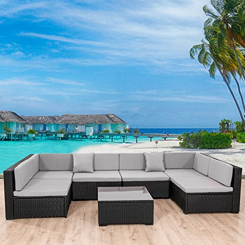Action Club 7 Piece Outdoor Patio PE Wicker Rattan