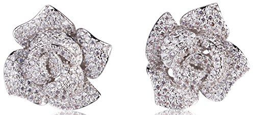 signer Camellia Rhinestone Stud Earrings ()