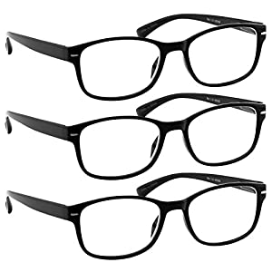 Reading Glasses 3 Pack Black Reader _ Always Have a Timeless Look, Crystal Clear Vision, Comfort Fit With Sure-Flex Spring Hinge Arms & Dura-Tight Screws _ 100% Guarantee +2.00