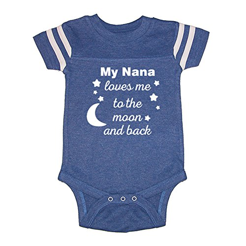 Mashed Clothing Unisex-Baby - My Nana Loves Me to The Moon and Back - Fun & Trendy - Football Style Baby Bodysuit (Royal, 6 Months)