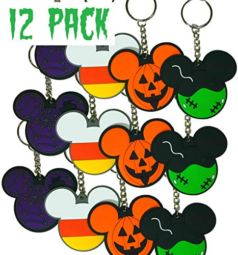 12 pc Halloween Keychain Trick or Treat Candy Corn Spider Web Frankenstein Pumpkin Mickey Party Favors Goodie Bags Gifts Toy Party Supplies Pinata Filler (2 Halloween Keychain, one -