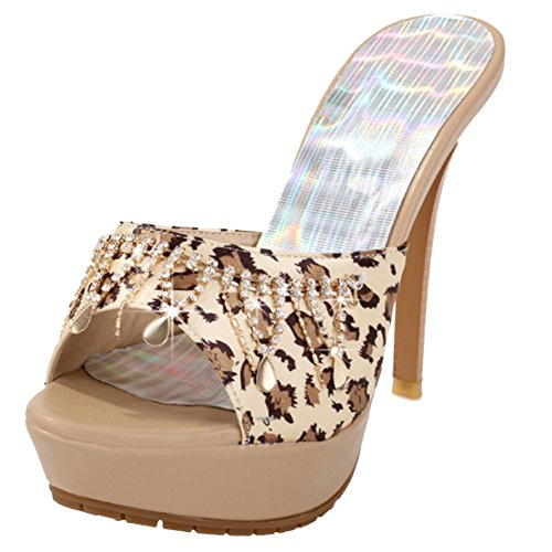 AIYOUMEI Damen Peep Toe High Heels Plateau Pantoletten mit Strass Bequem Modern Stiletto Sandalen Schuhe Beige