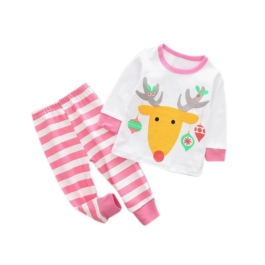 Christmas Toddler Boy Girls Pajamas Outfit Kids Cartoon Shirt+Pants Clothes CieKen