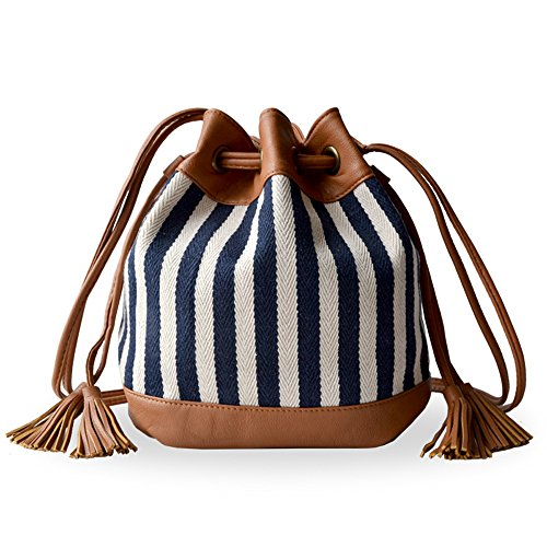 Lily Queen Women's and Teen Girls Drawstring Bucket Bag Small Crossbody Purse Canvas and PU leather (Navy - On When Do Sale Sunglasses Go