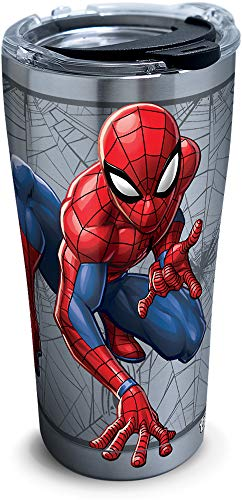 Tervis 1319384 Marvel Man Spider Web Stainless Steel Insulated Tumbler with Lid, 20 oz, Silver
