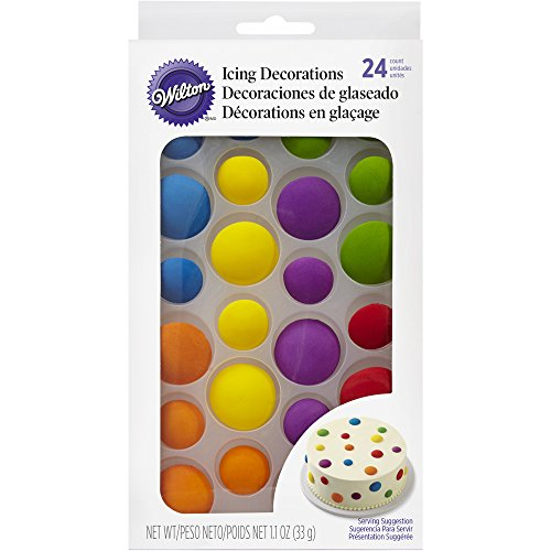 Wilton Bright Dots Icing Cake Decorations, 24-Count Edible Cake Decorations Edible Decoration