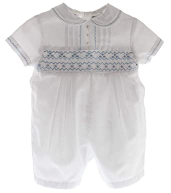 067fa4266 Sarah Louise Infant Boys Christening Outfit White Smocked Blue Dedication  Romper 3M