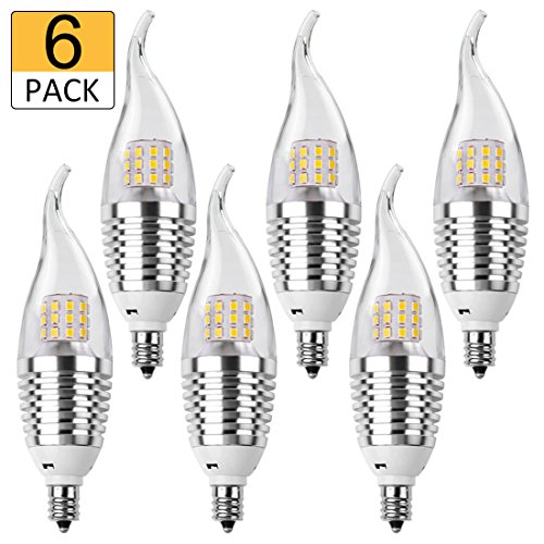 60 Watt Candelabra Based Bulbs (LEDMO LED Candelabra Bulb,60W Equivalent-Base E12-7W-Daylight White 6000K,LED Candle Bulbs(6 Pack))