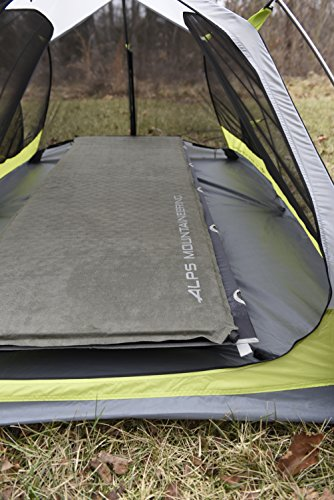 ALPS Mountaineering Comfort Series Air Pad 7 Brushed suede-like top and thicker pillow section gives you maximum comfort Polyester bottom fabric with anti-slip dots prevents you from sliding around Brass non-corrosive valve for maximum durability