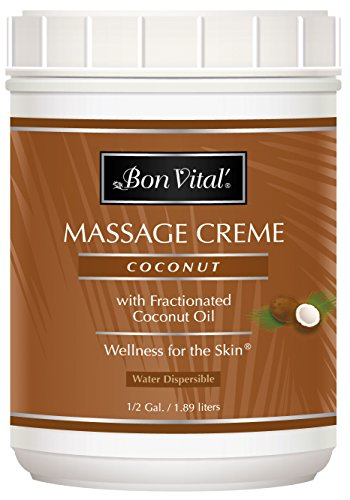 Pure Massage Cream - Bon Vital' Coconut Massage Crème Made with 100% Pure Fractionated Coconut Oil, Massage Cream & Moisturizer to Repair Dry Skin, No Greasy Feel, Anti-Aging Cream for Professional Massage, 1/2 Gallon Jar