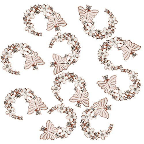 MagiDeal 10 Pieces Enamel Flower Butterfly Love Rhinestone Trim Flatback Buttons Embellishments Dress Appliques for Wedding Dress Phone Case Craft Bag Shoes Hair Accessories Handmade ()