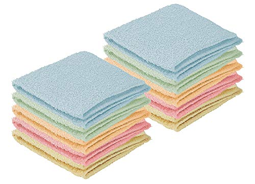 DecorRack 20 Pack 100% Cotton Wash Cloth, Luxurious Soft, 12 x 12 inch Ultra Absorbent, Machine Washable Washcloths, Assorted Colors (20 Pack) by DecorRack