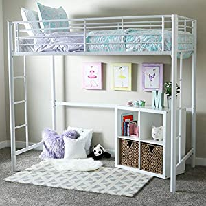 Bunk Beds for Kids Toddler Twin Metal Loft White Your Child Will Sleep in Style and Great Solution for Your Space Saving Needs by HomeTeks