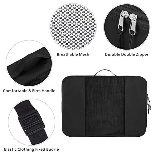 Packing Cubes, Packism 5 Set Travel Organizer 3 Different Sizes Luggage Packing Bags with Handle and Fixing Strap, Black
