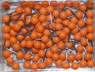 1/8 Inch Map Tacks - Orange