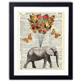 Elephant With Butterflies (#1) Upcycled Vintage Dictionary Art Print 8x10