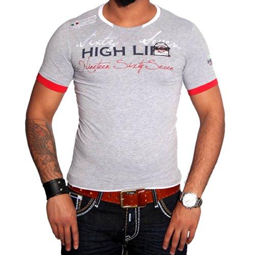 R-NEAL Clubwear Kurzarm Herren V-Neck T-Shirt Kontrast Shirt RTN-16691 NEU, Größe:M, Farbe:Grau