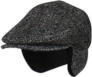 Folie Co. 100% Wool Herringbone Winter Ivy Cabbie Hat w/Fleece Earflaps – Driving Hat