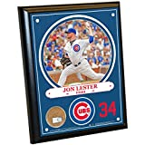 "MLB Chicago Cubs Jon Lester Plaque with Game Used Dirt from Wrigley Field, 8"" x 10"", Navy"