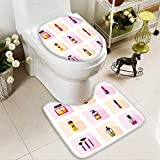 Analisahome U-shaped Toilet Mat-Soft vector flat style icons set of beauty makeup and cosmetics products 2 Piece Toilet Toilet mat