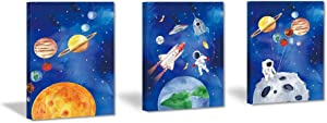 CHDITB Framed Outer Space Art Prints Cartoon Watercolor Planet Wall Art Set of 3 Pieces (11.8x15.6inch) , Universe Theme Canvas Painting, Spaceship, Astronaut For Kids Room Nursery Decor-Ready to Hang