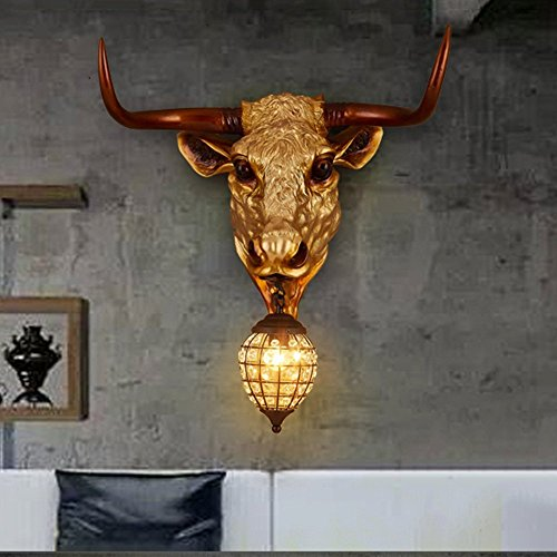 HOMEE Wall lamp- retro industrial wind creative imitation animal resin ngau tau wall lamp cafe restaurant internet cafe theme bar wall lamp --wall lighting decorations by HOMEE