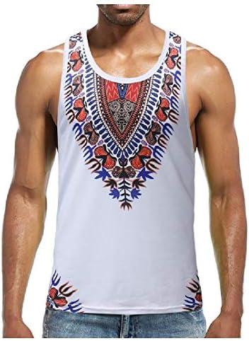 GodeyesW 男性プリントクルーネックノースリーブ薄い部族ファッションタンクトップシャツ