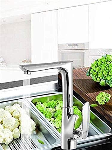ZJN-JN 蛇口 近代的なミニマリストキッチンシンクバルコニー浴室洗面シンクは単一の穴温水と冷水360を蛇口°銅回転クロム蛇口 台付
