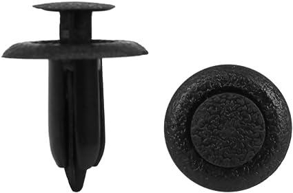 uxcell/® 8Pcs 6.5mm Black Plastic Rivets Push Type Panel Retainer Fastener Clip for Mazda