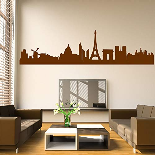 Yunhaa Wall Sticker Quotes Decals Decor Vinyl Art Stickers Paris Skyline for Living Room Bedroom