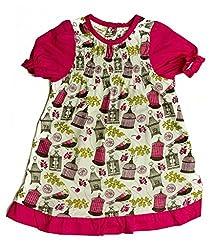 Origany Little Girls' Tropical Bird Smocked Top 5Y Pink