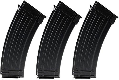 SportPro 150 Round Metal Medium Capacity Magazine for AEG AK47 AK74 3 Pack Airsoft - Black